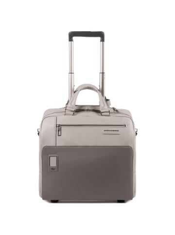 Piquadro Akron 2-Rollen Businesstrolley Leder 36 cm Laptopfach in grey
