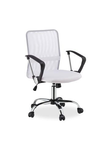 Relaxdays Bürostuhl in Weiß - (B)62x (H)101 x (T)62 cm