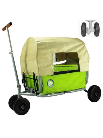 Beachtrekker Beachtrekker LiFe faltbarer Bollerwagen (Grün) + Bremse + Sonnenverdeck