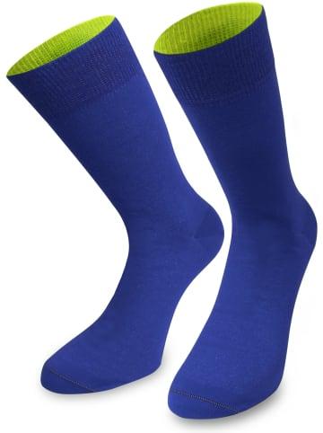Normani 1 Paar Socken Bi-Color in Royalblau/Säuregelb