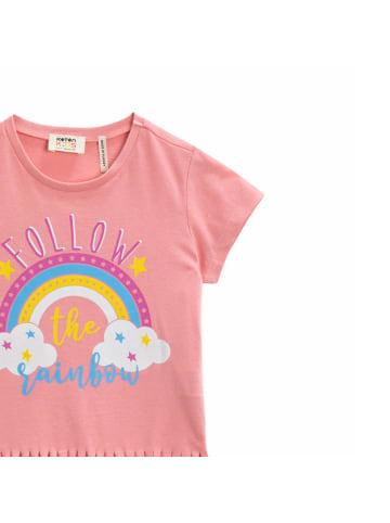KOTON Mädchen T-Shirt -Follow the rainbow in rosa
