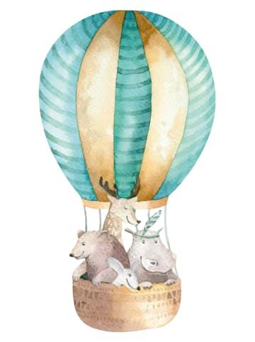 "Dekodino Wandtattoo ""Aquarell Heißluftballon mit Tieren"" in Bunt"