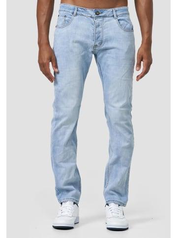 Giani5 Stretch Jeans Bleached Hose Acid Wash Pants Knopfe in Blau