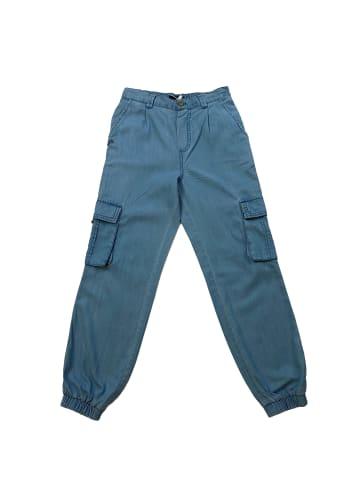 THREE OAKS Tencel Cargo Pants in Blau