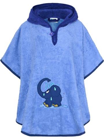 Smithy Badeponcho Elefant in Blau, 70x55 cm