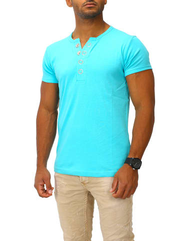Joe Franks Joe Franks Joe Franks Herren Basic T-Shirt kurzarm Big Button in turquoise