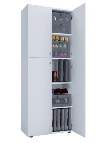 VCM  Holz Schuhschrank Lona 5-fach mit Drehtüren in Weiß