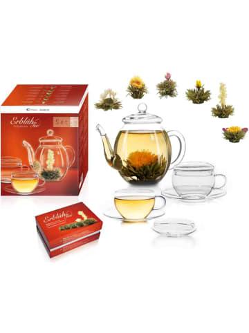 "Creano 9tlg. Set: 6x ""ErblühTee"" Weißer Tee + 1x Teekanne 500ml + 2er Teetassen 200ml"