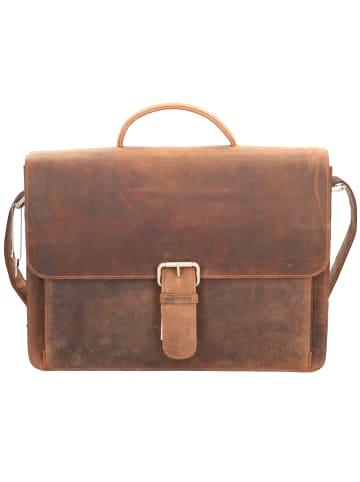 Plevier Retro Darwin Aktentasche Leder 41 cm Laptopfach in dunkelbraun