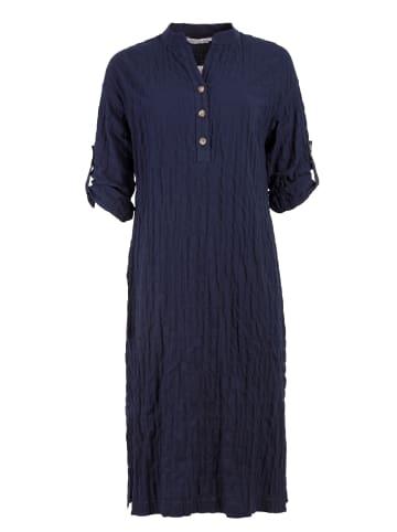 HELMIDGE Hemdblusenkleid Midikleid in dunkel blau
