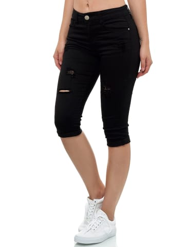MiSS RJ Kurze Capri Jeans Shorts leichte Bermuda Sommer Hose in Schwarz