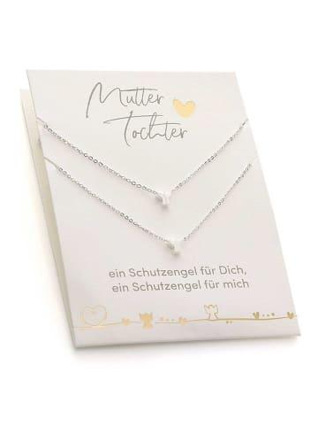 Himmelsflüsterer  Engel-Halsketten für Mutter & Tochter mit Geschenkkarte - Farbe: Silber