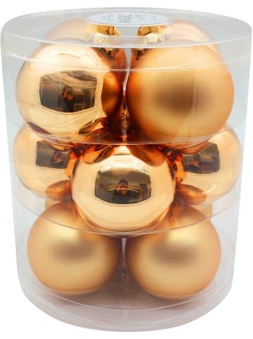 Magic 12er-Set Glas-Weihnachtskugeln, Ø8 cm, gold glanz/matt