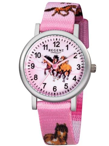Regent Kinder-Armbanduhr für Mädchen Pferde Rosa Ø 30 mm Pink / Silber
