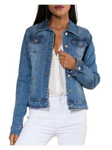 Nina Carter Jeans Jacke Kurze Übergangsjacke Denim Weste in Blau
