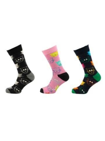 Happy Socks 3er Pack Mixed Cats Gift Set Socken