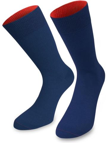 Normani 1 Paar Socken Bi-Color in Marine/Rot