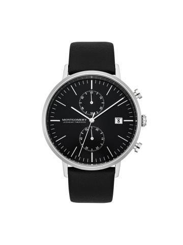 Montgomery Chronograph Bedfort in Silber Echtleder in Schwarz in schwarz