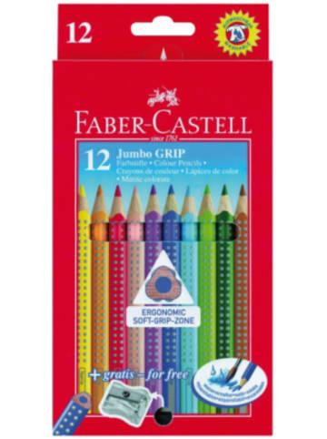 Faber-Castell Buntstifte JUMBO GRIP wasservermalbar, 12 Farben, inkl. Spitzer