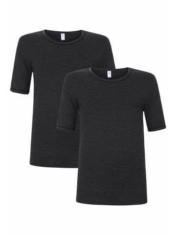 Schöller Unterhemd Halbarm 2er Pack in schwarz
