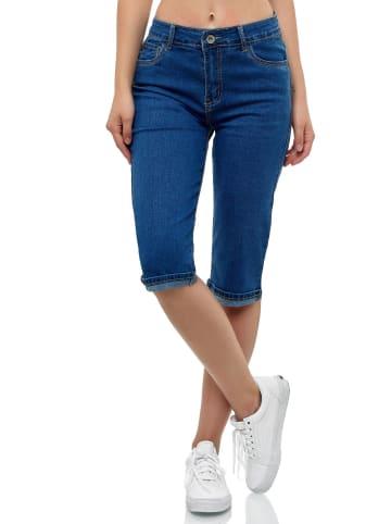 MISS FANNY Kurze Capri Jeans Shorts leichte Bermuda Sommer in Blau