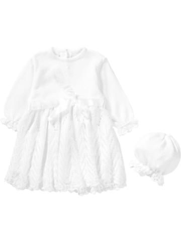 Hobea Baby Set aus Taufkleid + Mütze JOHANNA