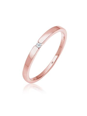 DIAMORE Ring 925 Sterling Silber Solitär-Ring, Verlobungsring in Rosegold