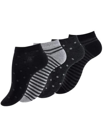 "Vincent Creation® Sneaker Socken ""Dot´s and Stripes"" 8 Paar in Schwarz/Grau/Anthrazit"