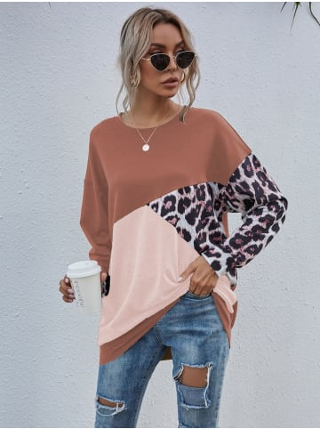 Enflame Leo Muster Long Shirt Legerer Oversized Sweater Pullover in Rosa