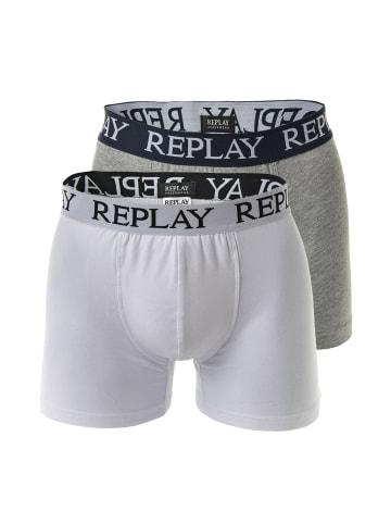 Replay Boxershort 2er Pack in Weiß/Grau meliert