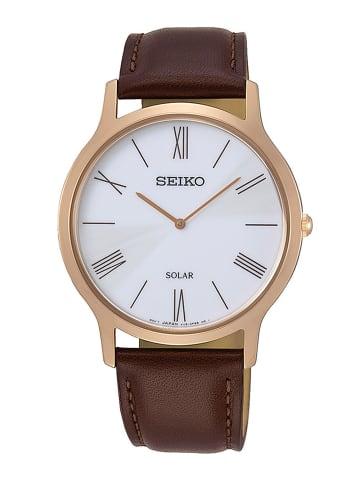 Seiko Analog Uhr 'SUP85' in weiß/Braun