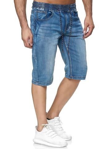 Leo Gutti Jeans Shorts Kurze Sommer Dehnbund Hose 5-Pocket in Blau