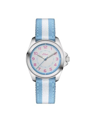 S.Oliver Time Armbanduhr SO-3134-LQ in hellblau, weiß