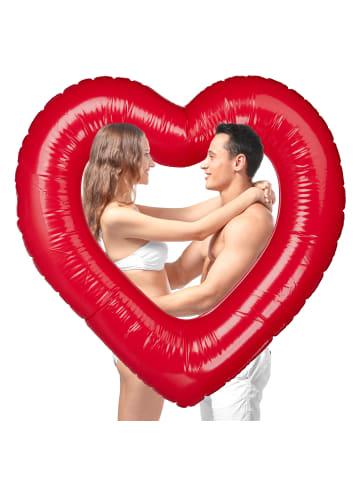 Relaxdays Aufblasbarer Schwimmring Herz in Rot