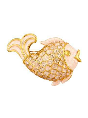 Golden Style Fisch-Brosche in Gelbgoldfarben