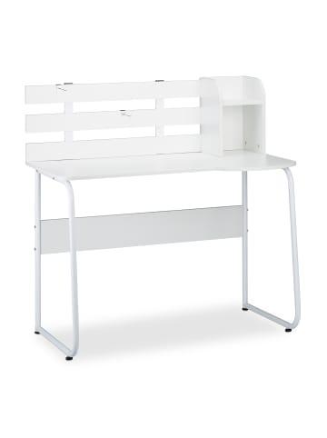 Relaxdays Schreibtisch in Weiß - (B)110 x (H)110 x (T)57 cm