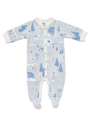 """Nyani Baby Overall"""" FOREST JUMP"""" mit Winterwald-Print in Himmelblau"""