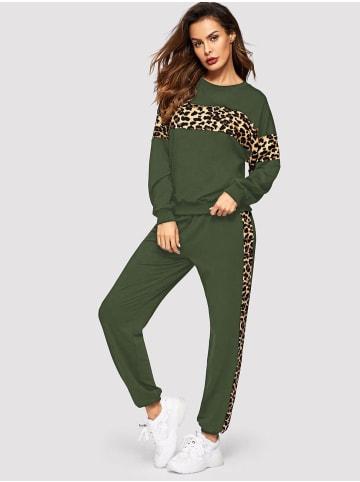 Enflame Jogginganzug Leoparden Print Freizeitanzug Stretch Trainingsanzug in Olive