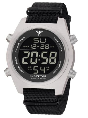 KHS Herren-Armbanduhr Inceptor Steel Digital Schwarz / Silber