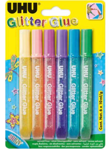 UHU Glitter Kleber hell, 6 Farben
