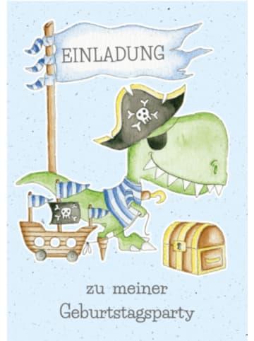 Grätz Verlag Einladungspostkarten Piraten-Dino, 8 Stück