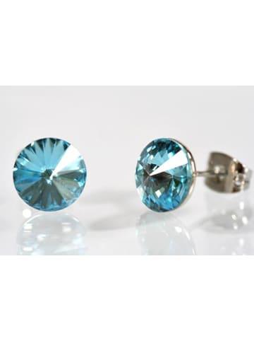 MeinVIPShop Ohrstecker mit Crystals from Swarovski blue diamond