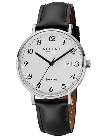 Regent Herren-Armbanduhr Edelstahl Ø 38 mm Weiß / Schwarz / Silber