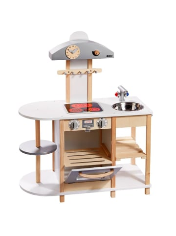 Howa Spielküche Kinderküche aus Holz mit LED Kochfeld natur / weiß - ab 3 Jahre