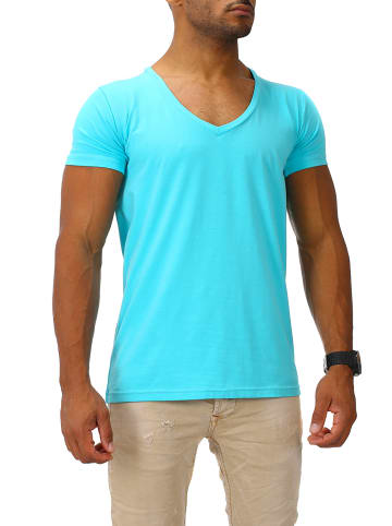 Joe Franks Joe Franks Joe Franks Herren Basic T-Shirts V-Neck DEEP in turquoise