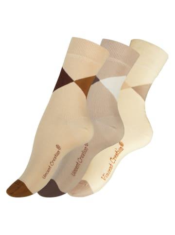 Vincent Creation® Modische Socken 3 Paar, Baumwolle in Beigetöne