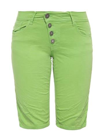 Way of Glory Damen Jeans Bermuda mit asymmetrischer Knopfleiste in hellgrün