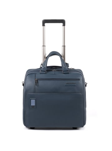 Piquadro Akron 2-Rollen Businesstrolley Leder 36 cm Laptopfach in blue