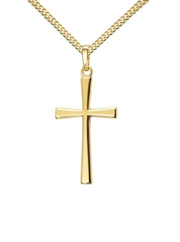 JEVELION Anhänger vergoldet 925 Silber Kreuz in gelbgold
