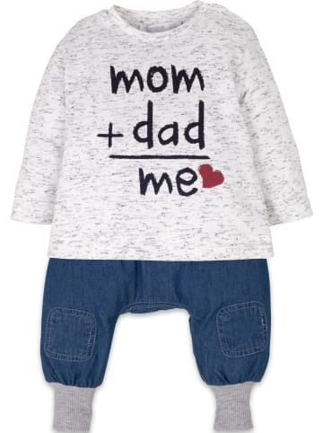 Mamino Kindermode Baby Junge Set 2 tlg. -mom and dad, me in weiss